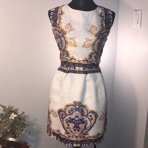 crfs Dresses - Unique dress with blue and gold color